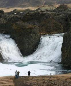 Hjálparfoss in Fossá river in Þjórsárdalur valley