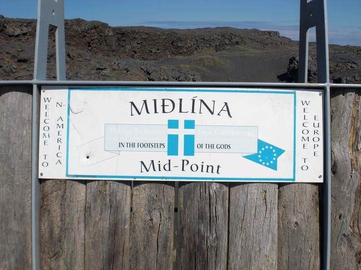 Mid-Point and the Leif the Lucky bridge over Álftagjá in the Reykjanes Peninsula